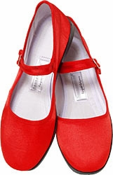 Mary Jane Cotton China Doll Slippers (Red)