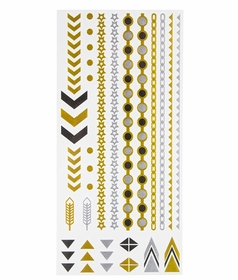 Metallic Flash Tattoos - Arrow and Star