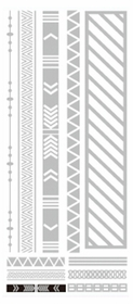 Metallic Flash Tattoos - Silver Tribal Shapes