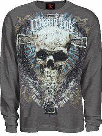 "Miami Ink ""Badness Skull"" Thermal Longsleeve Shirt (Charcoal)"