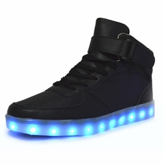 Mid-Top LED Sneakers - Deluxe Rechargeable LED Light-Up Sneakers - Black with Strap