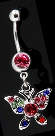 Navel Body Jewlery - Multi Color Butterfly Belly Button Ring