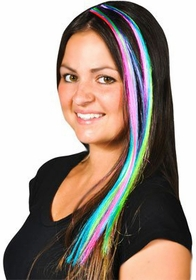 Multi Color Neon Clip On Hair Extensions (2-Pack)