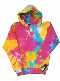 Multicolor Tie Dye Zip-Up Adult Size Hoodie Sweatshirt with Full Zipper