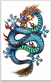 Mythic Dragon Full Color Temporary Tattoo
