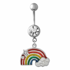 Navel Body Jewelry - Rainbow, Cloud, and Stars Dangle Belly Button Ring