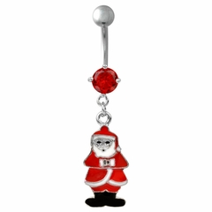Navel Body Jewelry - Santa Claus Dangle with Rhinestone Belly Button Ring