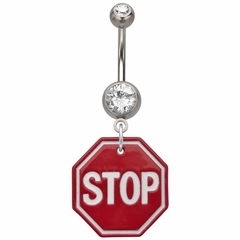 Navel Body Jewelry - Stop Sign Dangle Rhinestone Belly Button Ring