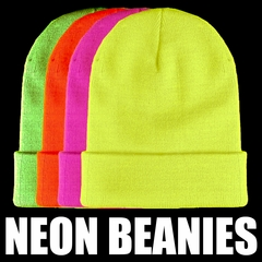 Neon Knitted Beanie's (Glows Under Black Light)