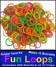 Neon Rainbow Rubberband Looms - 300 Fun Loop Pieces