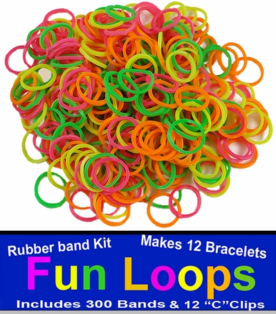 Neon Rainbow Rubberband Looms - 300 Fun Loop Pieces<!-- Click to Enlarge-->
