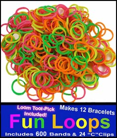 Neon Rainbow Rubberband Looms - 600 Fun Loop Pieces