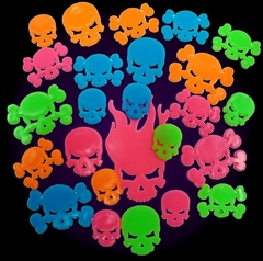Neon Skulls Black Light Reactive Wall Decorations