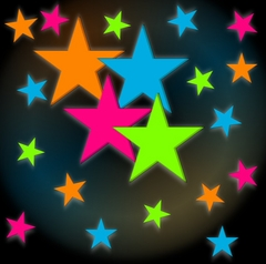 Neon Stars Blacklight Reactive Wall Decorations (24 pack)