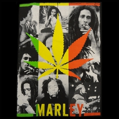 Official Bob Marley Potleaf Collage Mens T-shirt