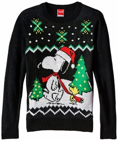 Official Peanuts Snoopy and Woodstock Youth Ugly Christmas Sweater