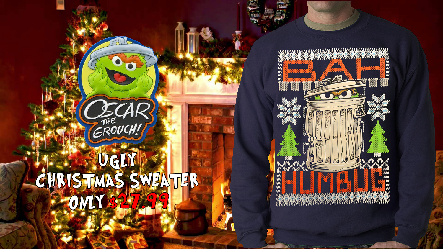 Official Sesame Street Oscar The Grouch Bah Humbug Ugly