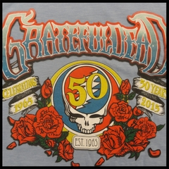 Official The Grateful Dead 50th Anniversary Heather Blue Mens T-shirt