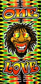 "One Love Rasta Tie Dye Beach and Bath Towel (30"" x 60"")"