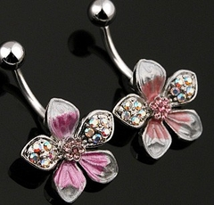 Opalescent Flower Navel Jewelry
