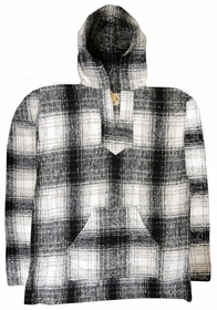 Original Mexican Baja Fleece Hoodie (White/Navy Plaid)