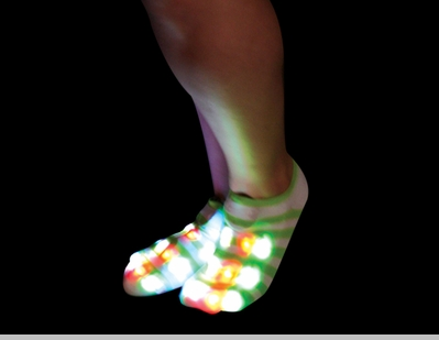 Pair of LED Flashing Socks (Green/White Stripe)<!-- Click to Enlarge-->