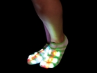 Pair of LED Flashing Socks (Green/White Stripe)