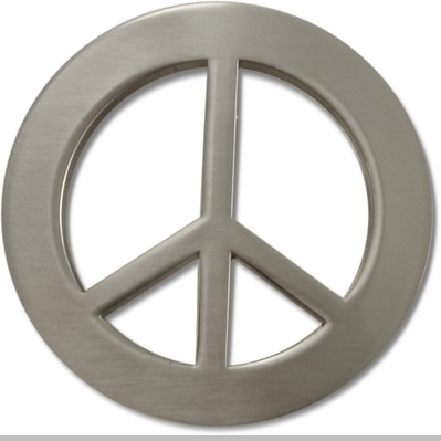 Peace Sign Belt Buckle With FREE Leather Belt<!-- Click to Enlarge-->
