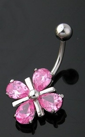 Navel Body Jewelry - Pink C.Z. Flower Navel Jewelry