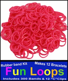 Pink Rubberband Looms - 300 Fun Loop Pieces