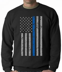 Police Thin Blue Line American Flag - Support Police Department Adult Crewneck