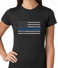 Police Thin Blue Line American Flag - Support Police Department Horizontal Ladies T-shirt