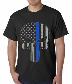 Police Thin Blue Line Skull American Flag - Support Police Department Mens T-shirt