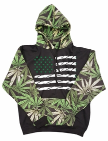 Pot American Flag Pot Leaf Collage Adult Hoodie