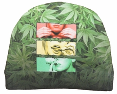 Pot Leaf Beanie - Roll, Lick, Smoke Beanie with All-Over Pot Leaves