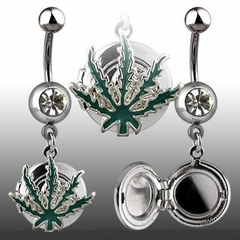 Navel Body Jewelry - Pot Leaf Locket Navel Jewelry