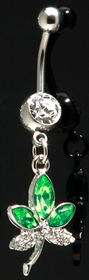 Navel Body Jewelry - Pot Leaf Rhinestone Belly Button Ring