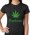 Pot Leaf Vegetarian Ladies T-shirt