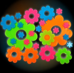 Psychedelic Flowers Glow in the Dark Wall Decorations (24 pack)