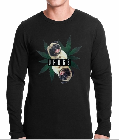 Pugs and Drugs Pot Leaf Thermal Shirt<!-- Click to Enlarge-->