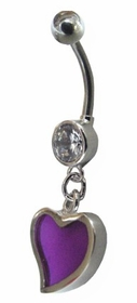 Purple Dangling Heart Navel Jewelry