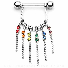 Rainbow Pride Multi-Chain Nipple Dangle
