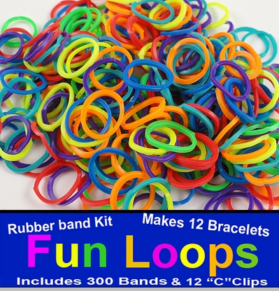 Rainbow Rubberband Looms - 300 Fun Loop Pieces<!-- Click to Enlarge-->