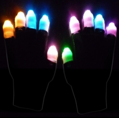 Rave Gloves  -  Black Ghost Pair of Multicolor LED Lightshow Gloves