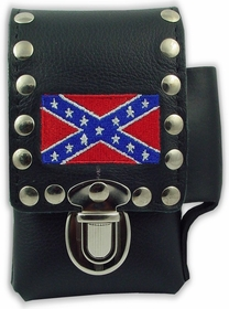 Rebel Confederate Flag Leather Cigarette & Lighter Case (For Regular Size & 100's)