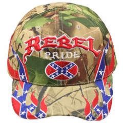 Camo Rebel Confederate Flag Embroidered With Flames Hat