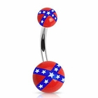 Navel Body Jewelry - Rebel Flag Belly Ring