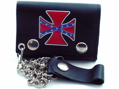 Rebel Iron Cross Genuine Leather Chain Wallet