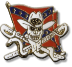 Rebel Skull Swords Flag Lapel Pin