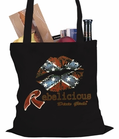 Rebelicious Dixie Girl Confederate Flag Lipstick Tote Bag